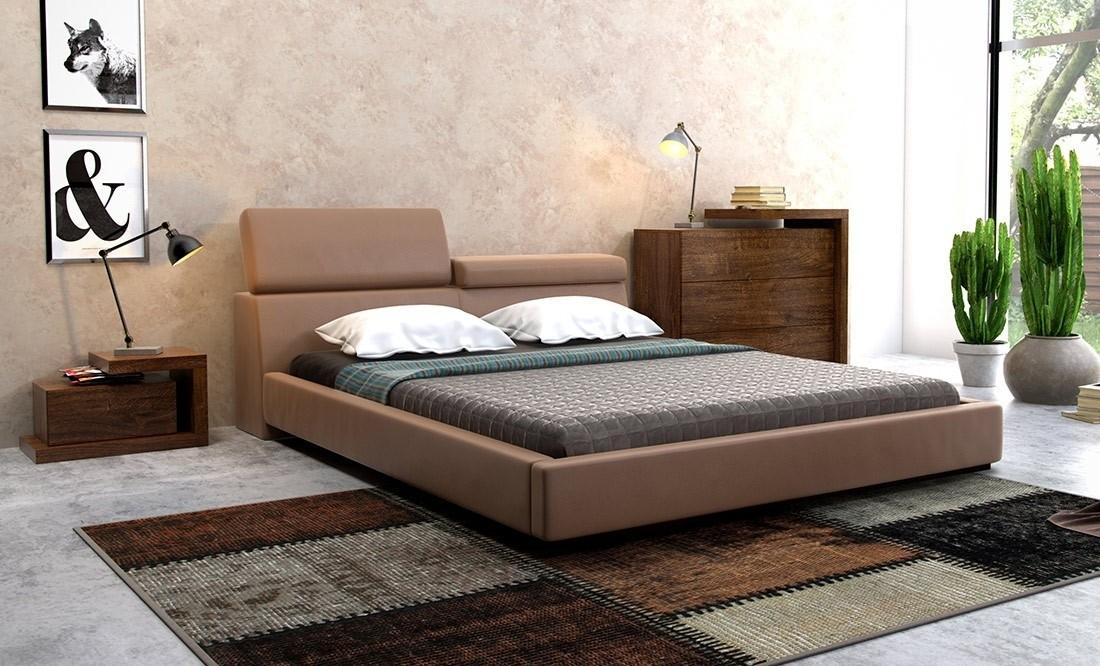 Elegance Tapicerowane łóżko Skóra Naturalna Dlaspania