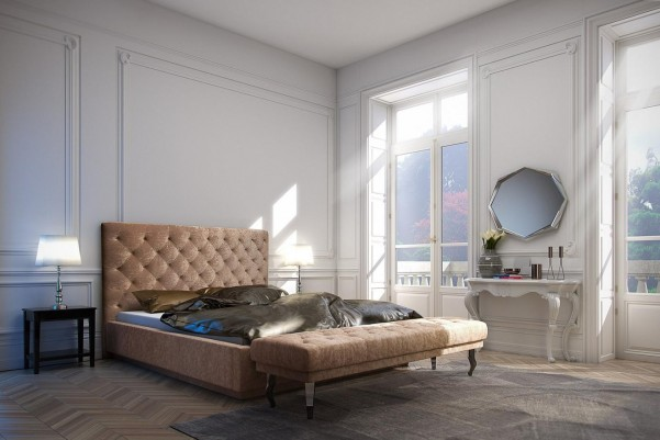 Glamour - tapicerowane łóżko (skóra naturalna)