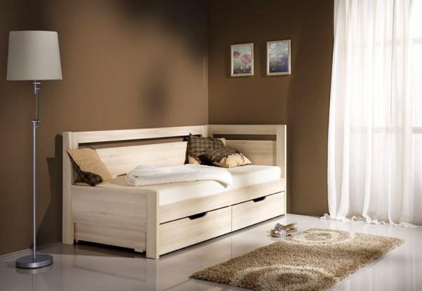 Rozkładane łóżko Ester Tandem ze stelażem i pojemnikami na pościel