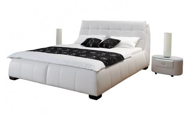 Colin - tapicerowane łóżko z pojemnikiem (skóra naturalna)