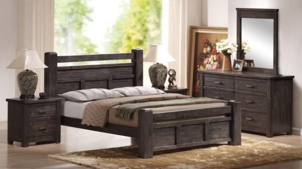 Drewniane łóżko ze stelażem Biru 2