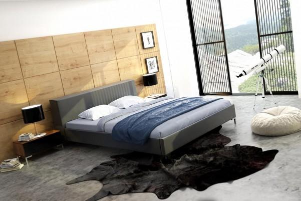 Black Loft - tapicerowane łóżko (skóra naturalna)