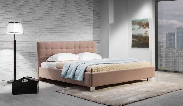 Suita B - tapicerowane łóżko (skóra naturalna-Dolaro)