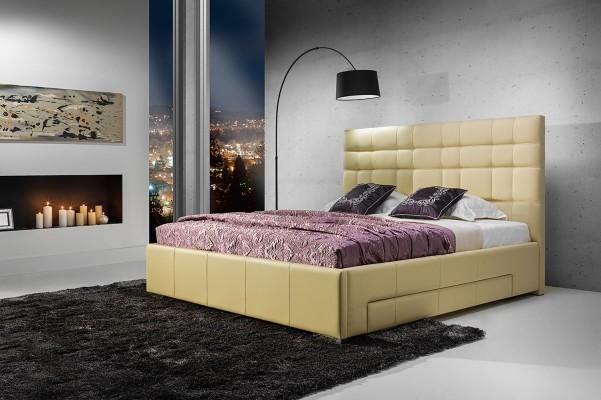 Suita A - tapicerowane łóżko (skóra naturalna-Dolaro) z pojemnikiem